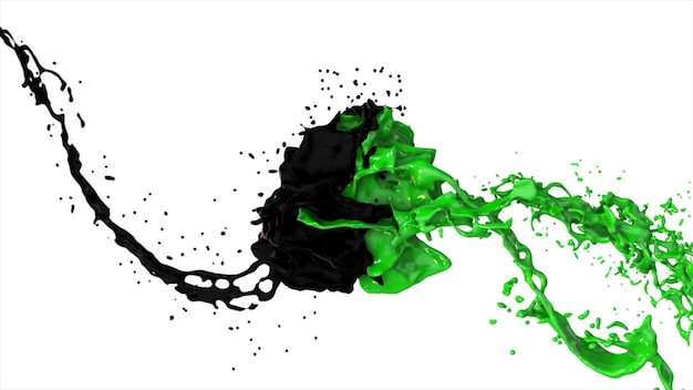 Black and green liquid collide, drops splatter fly to the sides on a white isolated background