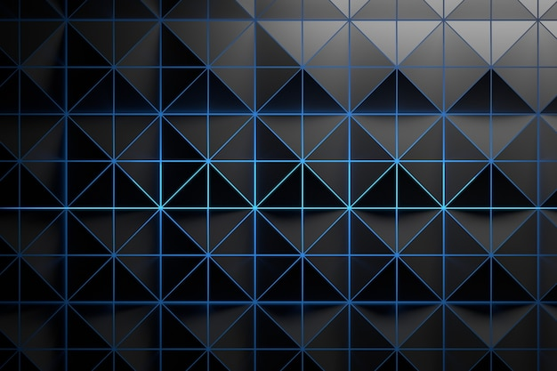 Black grey pattern with triangles and blue glowing light