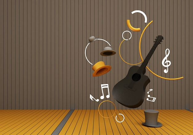 黄色の床と灰色の背景の3dレンダリングに音楽キーが付いた黒いギターと灰色の帽子。