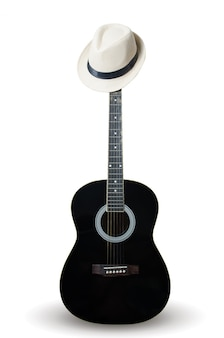 Black guitar with wearing a white hat.
