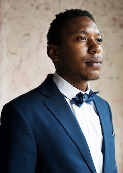 Black guy groom nervous portrait