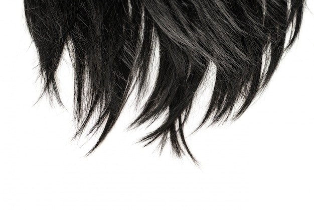 Black hair tips isolated on white.