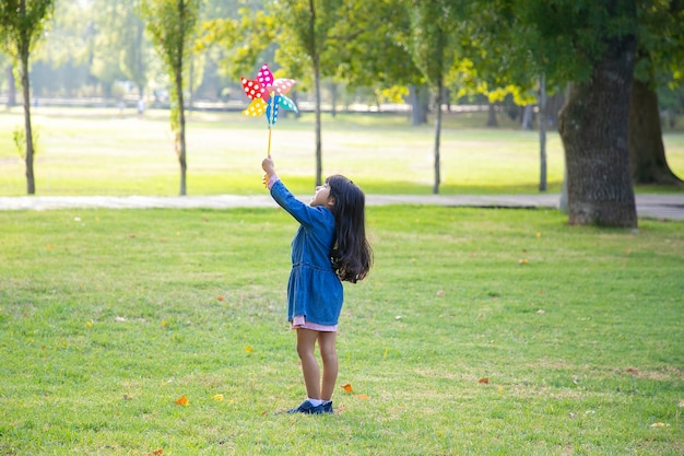 Black haired little girl standing on grass in park, holding and raising pinwheel, looking at toy. full length, wide shot. children outdoor activity concept