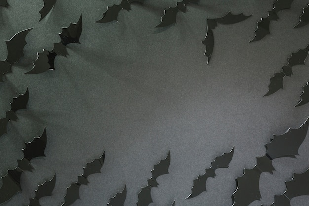 Black halloween bats laid in circle