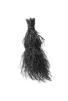 Черная метла ведьмы на хэллоуин на белом фоне