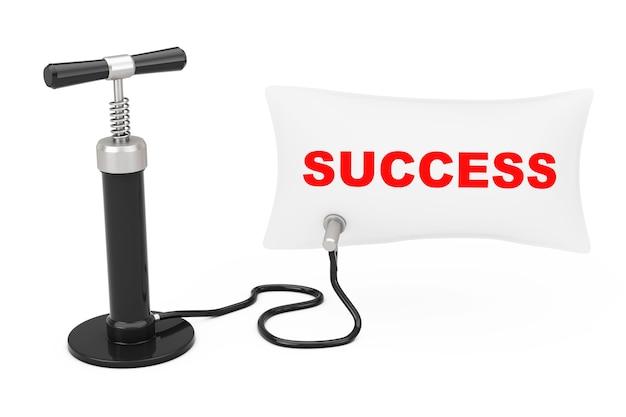 검은 손 공기 펌프는 흰색 바탕에 성공 기호로 풍선을 팽창시킵니다. 3d 렌더링