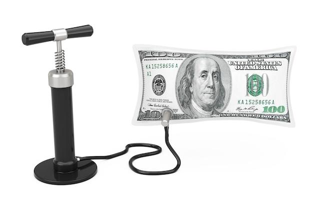 黒のハンドエアポンプは、白い背景で米ドルのバルーンを膨らませます。 3dレンダリング