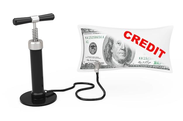黒のハンドエアポンプは、白い背景の上のクレジットサインで米ドルのバルーンを膨らませます。 3dレンダリング