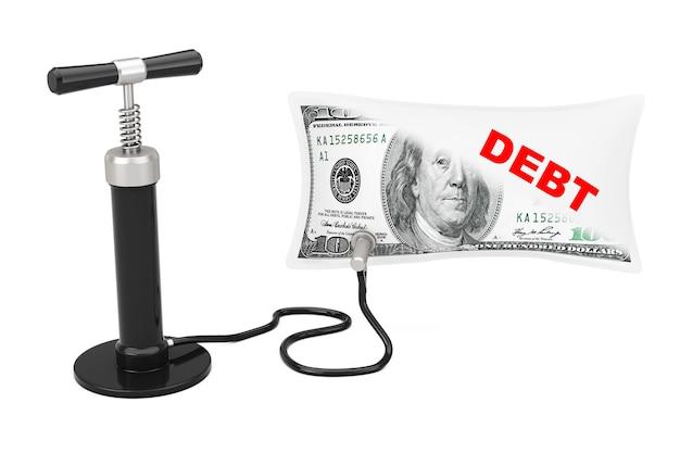 黒のハンドエアポンプは、白い背景に債務サインで米ドルのバルーンを膨らませます。 3dレンダリング