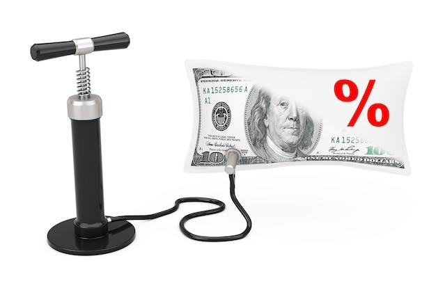 黒のハンドエアポンプは、白い背景のパーセント記号で米ドルのバルーンを膨らませます。 3dレンダリング
