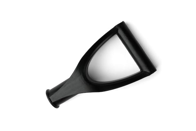 흰색 배경에 고립 된 눈 삽의 검은 손잡이.