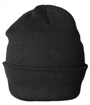 白い背景の上の黒い帽子