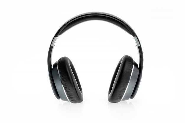 Black headphone isolated on white
