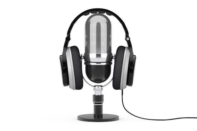흰색 배경에 마이크 위에 검은색 헤드폰. 3d 렌더링