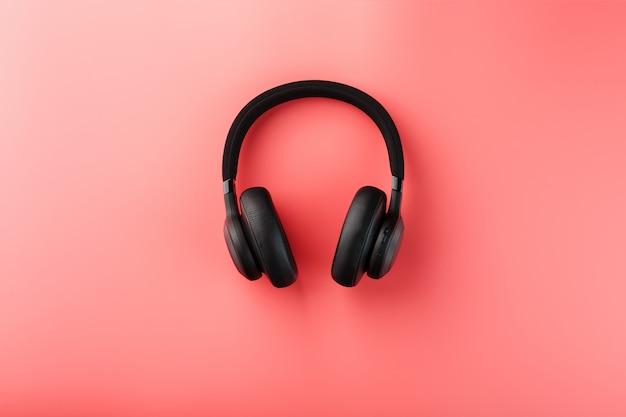 Black headphones on pink