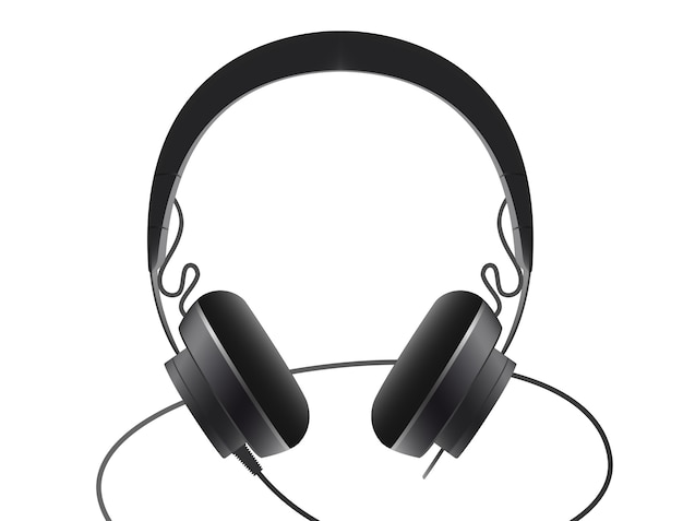 Black headset on a white background