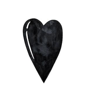 白い背景で隔離の黒いハートのクリップアート。水彩ハートの形のイラスト。ハロウィーンのデザイン要素。