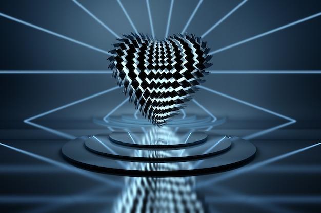 Черное сердце из разбитых осколков, освещенное синим светом над постаментами зеркал