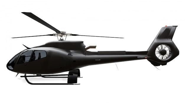 ホワイトスペースに分離された黒いヘリコプター。 3dレンダリング。