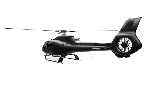 白い表面に分離された黒いヘリコプター