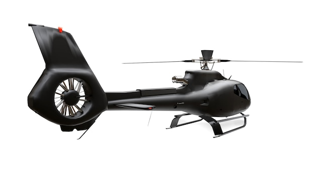 Black helicopter isolated on the white surface