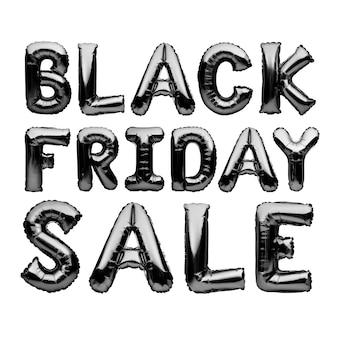 검은 색 헬륨 풍선 흰색 배경, 검은 금요일 개념에 검은 금요일 판매 단어를 형성.
