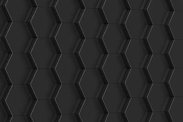 黒の六角形の背景。 3dイラスト