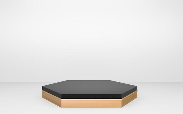 흰색 배경 최소한의 디자인에 검은 육각형 연단 나무 디자인. 3d 렌더링
