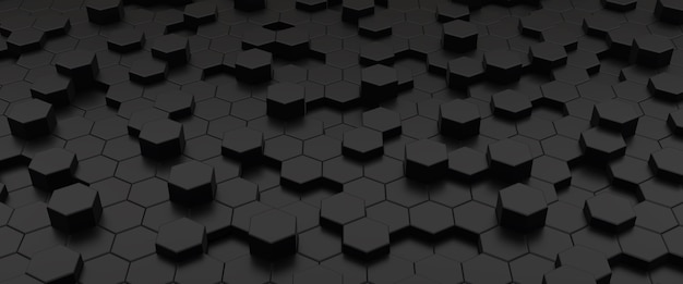Black hexagons abstract geometric  3d illustration