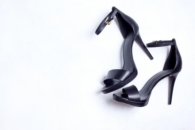 Black high-heeled sandals