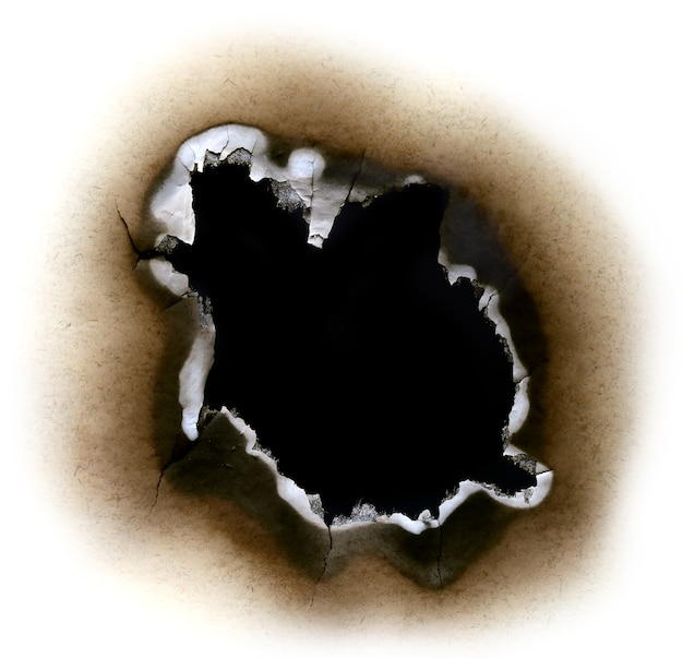 Black hole by burnt paper