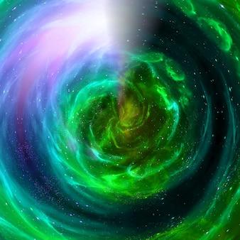 ブラックホール宇宙銀河ワームホール、平行世界、物質吸収、星の普遍的なカオス星雲抽象的な宇宙の背景、星の竜巻