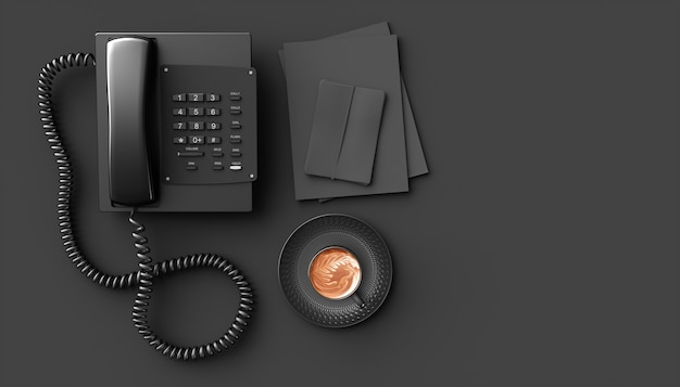 Black home phone on a black background, 3d illustration