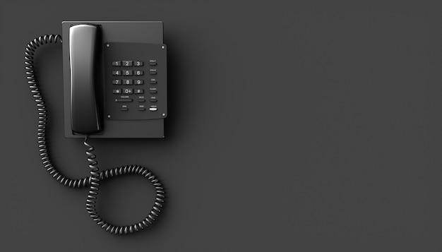 Черный домашний телефон на черном фоне, 3d иллюстрация