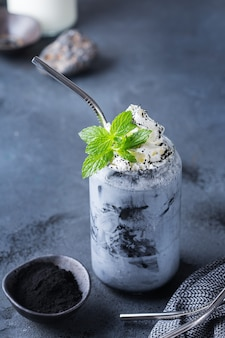 Black iced activated charcoal latte detox drink