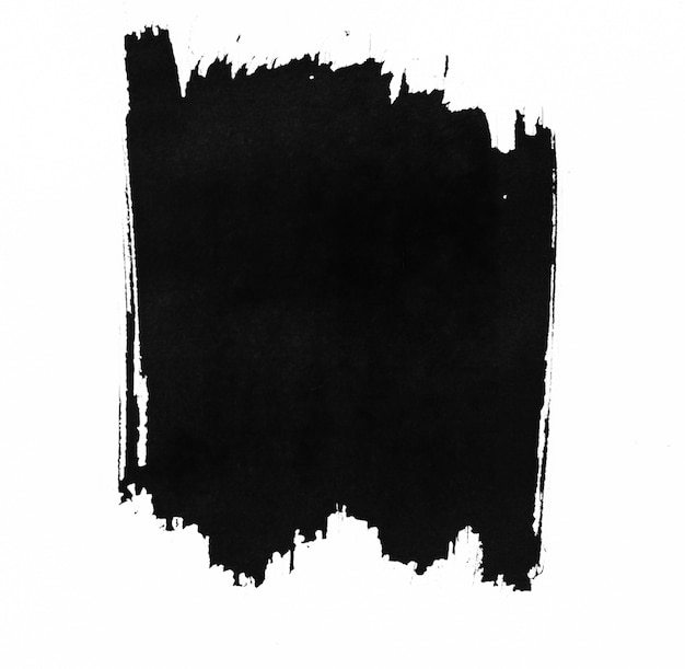Black ink shape on watercolor paper texture