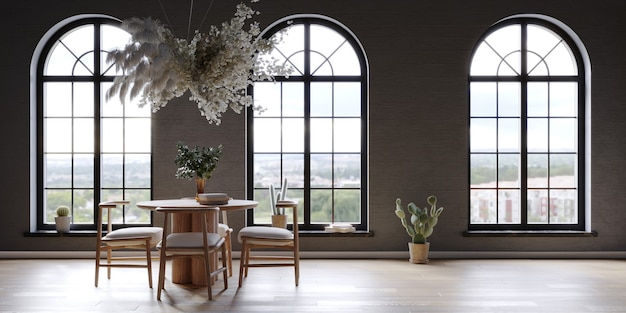Black interior wiht large arch windows and hanging flower cloud over the round table 3d render