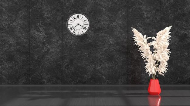 실내 화분 용 화초와 모형, 3d 일러스트를위한 벽시계가있는 블랙 인테리어