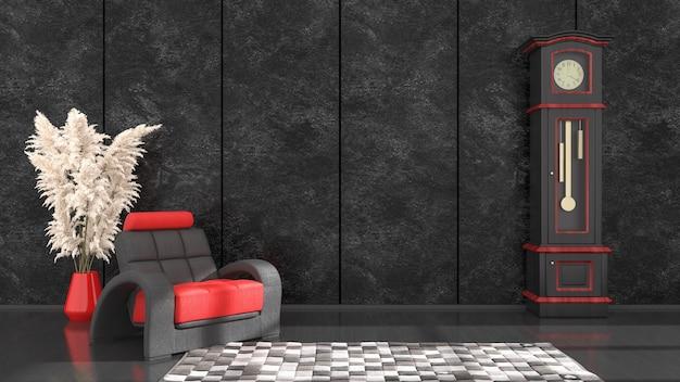Черный интерьер с черно-красным креслом и часами для макета, 3d иллюстрация