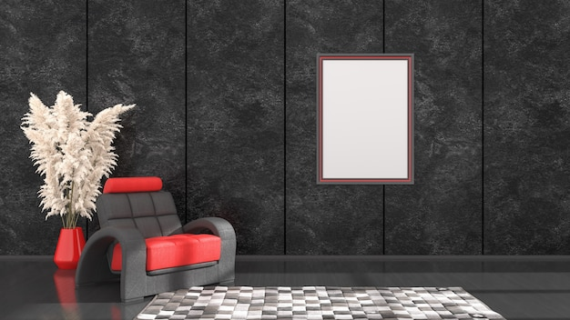 검정과 빨강 프레임과 모형, 3d 일러스트를위한 안락 의자가있는 블랙 인테리어
