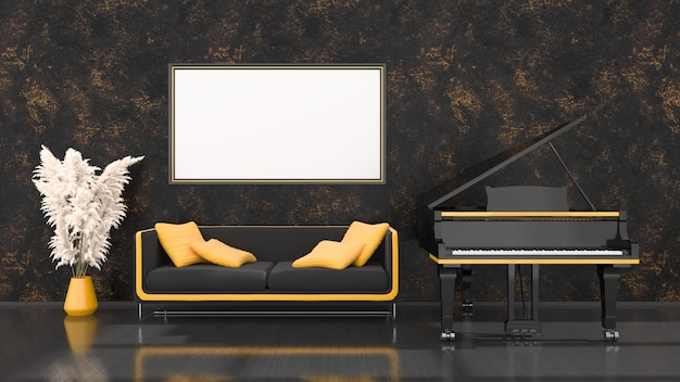 黒と黄色のグランドピアノ、ソファ、モックアップ用フレーム、3dイラストと黒のインテリア