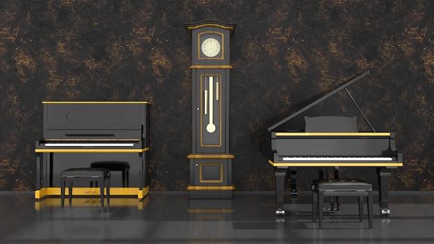 黒と黄色のピアノ、グランドピアノとアンティーク時計、3dイラストと黒のインテリア