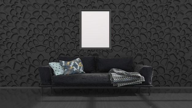 Black interior with black sofa and frames for mockup, 3d illustration