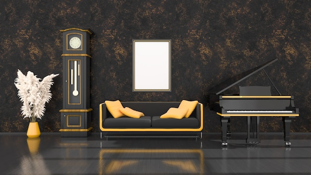 Black interior with black and yellow grand piano, vintage clock and frame for mockup, 3d illustration