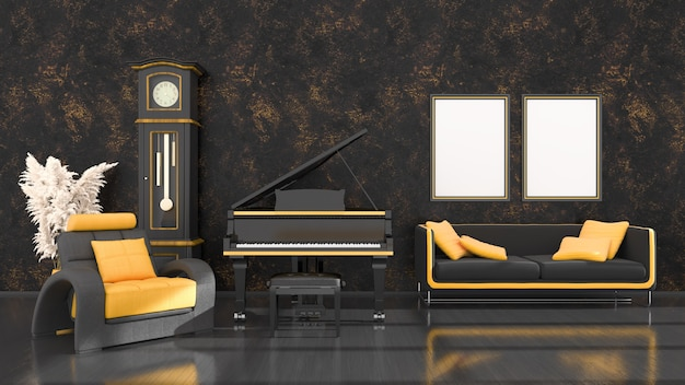 Black interior with black and yellow grand piano, vintage clock and frames for mockup, 3d illustration
