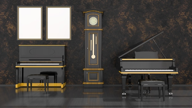 Black interior with black and yellow piano, grand piano and frame for mockup, 3d illustration