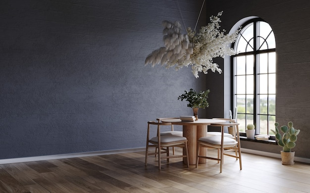 Black interior with dark concrete walls arch window and flower cloud over the wooden table 3d rend