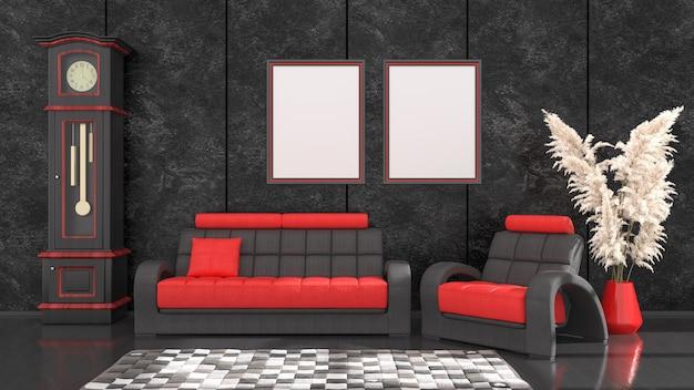 モダンな黒と赤のソファとモックアップ、3dイラストのフレームと黒のインテリア