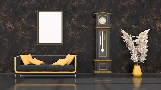 モダンな黒と黄色のソファ、モックアップ用の時計とフレーム、3dイラストと黒のインテリア