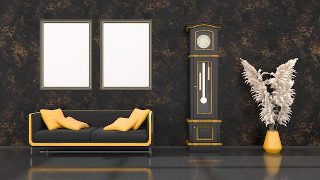 Black interior with modern black and yellow sofa, clock and frames for mockup, 3d illustration